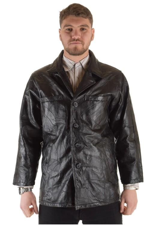 Мъжко кожено яке с декоративни шевове 50.00