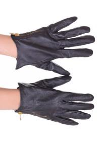 Черни дамски кожени ръкавици