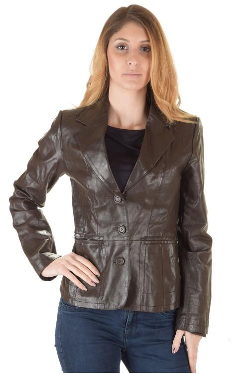 Тъмно кафяво дамско кожено сако 35.00