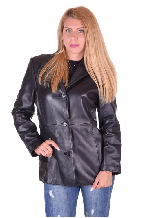 Черен дамски кожен шлифер 45.00