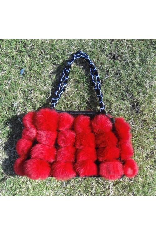 Зимна мека дамска чанта от естествен косъм 68.00