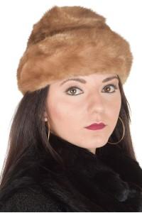 Светло кафява дамска шапка от естествен косъм