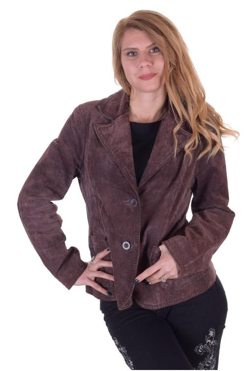 Тъмно кафяво дамско велурено сако от естествена кожа 29.00