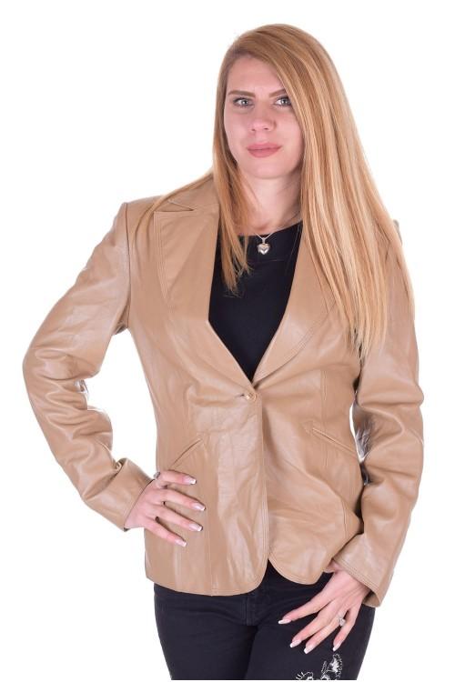 Бежово дамско кожено сако 19.00