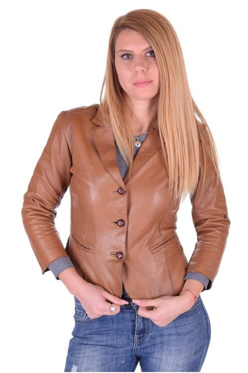 Светло кафяво дамско кожено сако 35.00