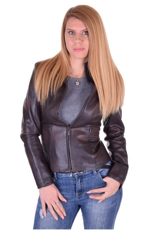 Тъмно кафяво дамско яке от изкуствена кожа 19.00