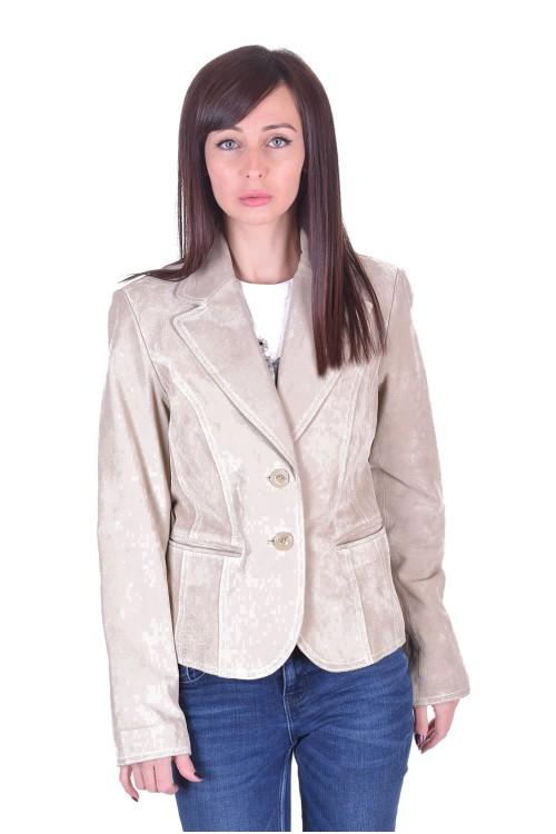 Бежово велурено сако от естествена кожа 35.00