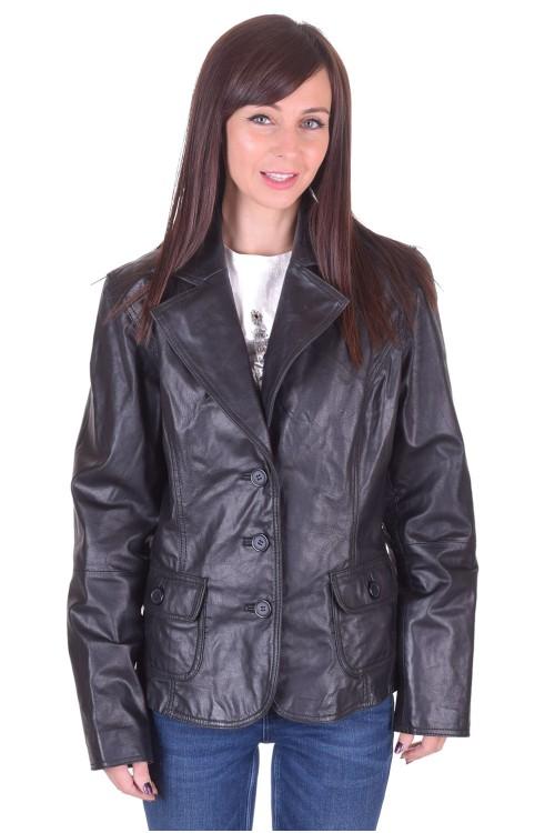Черно дамско кожено сако 25.00