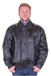 Черно мъжко яке от плътна от естествена кожа