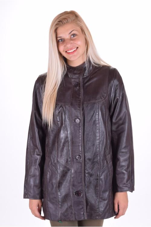Тъмно кафяво дамско яке от естествена кожа 69.00