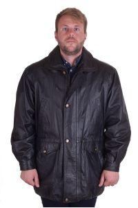 Черно дълго яке от естествена кожа