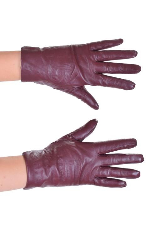 Тъмно червени дамски ръкавици от фина кожа 14.00