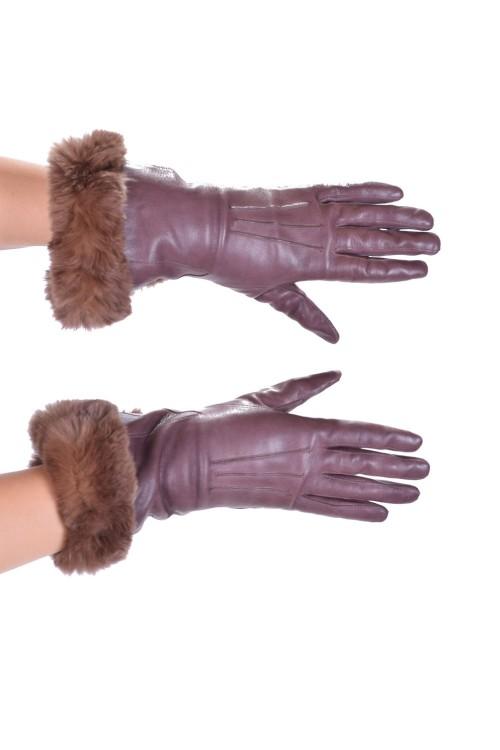 Кафеви дамски ръкавици от мека кожа 7.00