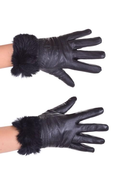 Черни дамски ръкавици от естествена кожа 15.00
