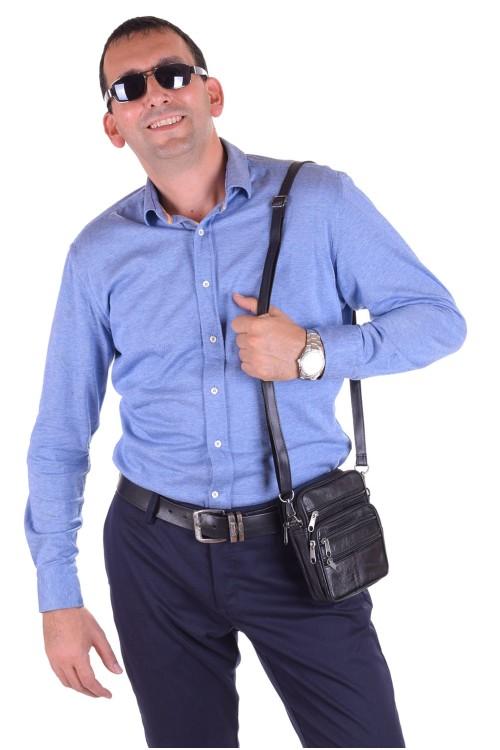 Черна мъжка чанта от естествена кожа 18.00