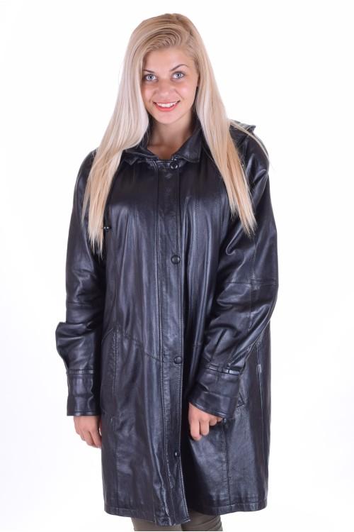 Черно дамско дълго яке от естествена кожа 89.00