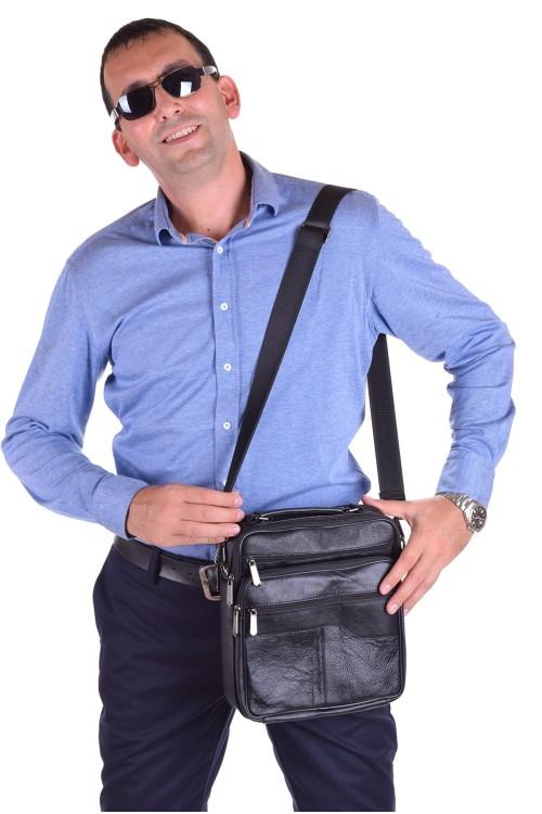 Черна мъжка чанта от естествена кожа 65.00