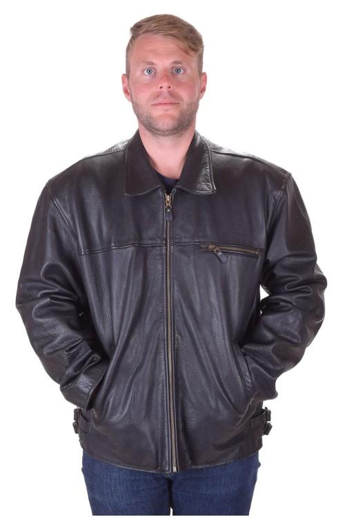 Превъзходно черно мъжко яке от естествена кожа 89.00