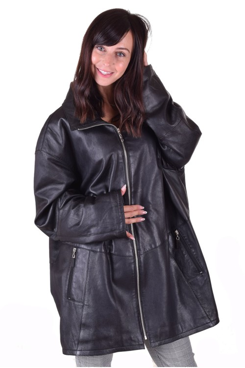 Черно дълго яке от естествена кожа 39.00