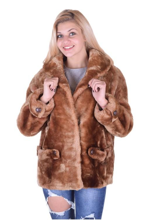 Светло кафяво палто от естествен косъм 39.00