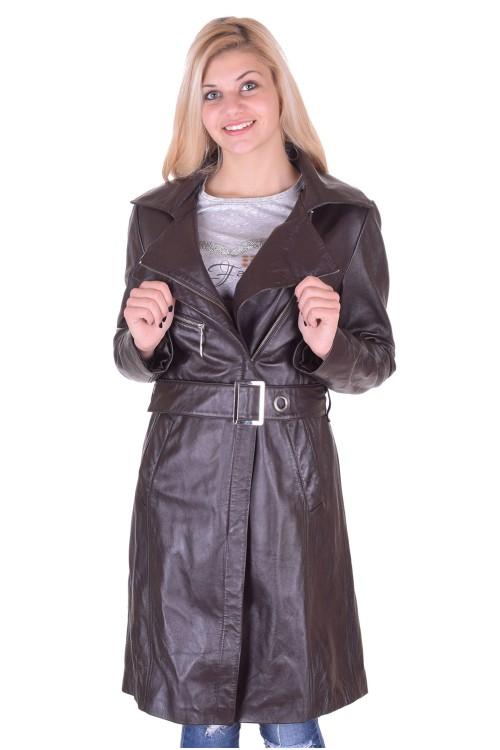 Тъмно кафяв кожен шлифер 39.00