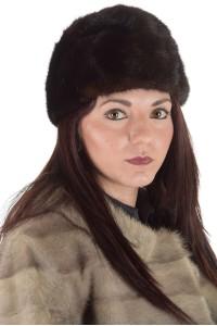 Тъмно кафява дамска шапка от естествен косъм