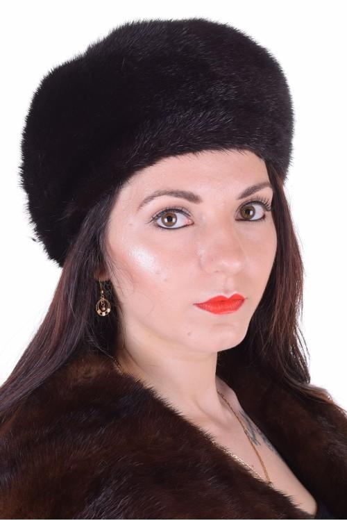 Тъмно кафява дамска шапка от норка 29.00